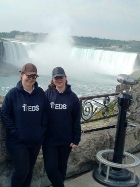 Rebecca and Jessica Gill wearing TEDS hoodies at Niagara Falls